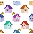 Houses girl and boy seamless background vector image