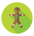 Flat Design Gingerbread Man Circle Icon vector image