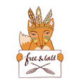 Frame with indian red fox Tribal invitation card vector image
