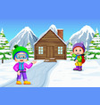 in the winter kids play in the snow very joyfully vector image