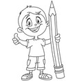 outlined boy holding big pencil vector image