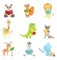 Cute Animal Characters Reading Books Set vector image