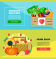 farm shop delivery banners set vector image
