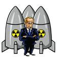 Vladimir putin cartoon with nuclear missiles vector image