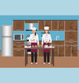 two young women confectioners cooking desserts vector image