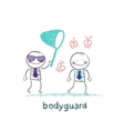 bodyguard catches the butterfly a net vector image vector image
