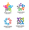 People social community logo set vector image