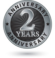 2 years anniversary silver label vector image