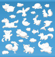 animals cloud cartoon kids style silhouette white vector image