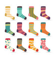 child socks icons colorful cartoon cute vector image