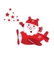 Cute flying santa touching christmas stars vector image