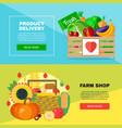 farm shop delivery banners set vector image