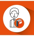 library books school student boy vector image