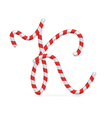 Sweet holiday candy abc letter vector image