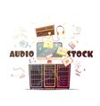 Microstock Audio Concept Retro Cartoon vector image