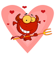 Hearts Over A Devil Guy Holding A Pitchfork vector image vector image