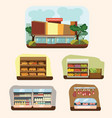 shop building cartoon set with mini store symbols vector image