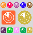 radar icon sign 12 colored buttons Flat design vector image