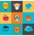 Geek nerd smart hipster icons and symbols vector image