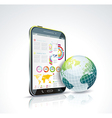 a smart phone and globe vector image
