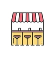Bar counter with stools thin line icon Street vector image
