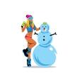 Girl and Snowman Cartoon vector image