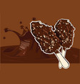 ice cream covered with chocolate and almonds stick vector image