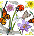 seamless pattern of summer insects and flowers vector image