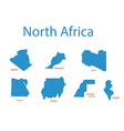 north africa - maps of territories vector image