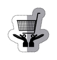 sticker silhouette of hands holding a shopping vector image