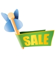 Wooden arrow with bright sale banner and text vector image