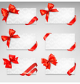Collection of gift cards with red ribbons vector image vector image