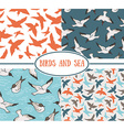 Set of seamless patterns Sea and birds vector image