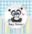 baby shower greeting card with cartoon panda vector image
