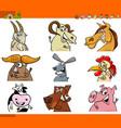 farm animal characters cartoon set vector image