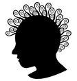 Retro girl silhouette with curles vector image