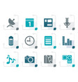 stylized mobile phone performance icons vector image