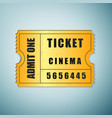 Golden cinema ticket icon isolated on blue vector image