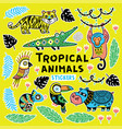collection of stickers with tropical animals with vector image
