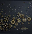 Awesome black background with gold snowflakes for vector image