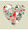 Christmas icons in love heart vector image