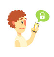 cartoon man holding smartphone protected from vector image vector image