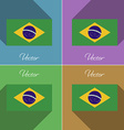 Flags Brazil Set of colors flat design and long vector image