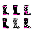 retro patterned wellington black rain boots vector image vector image