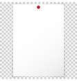 Blank album clean empty sheet paper A4 red pushpin vector image