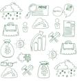 Doodle of business finance elements vector image