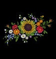 embroidery flower bouquet sunflower dog rose briar vector image