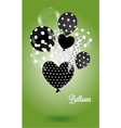 Green background with black and white balls vector image