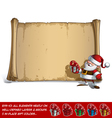 Happy Santa Scroll Holding a small Gift vector image