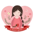 I love you card with adorable cartoon girl vector image